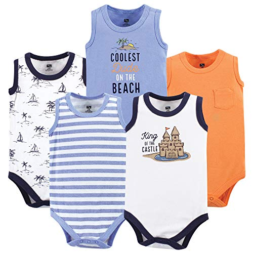 Hudson Baby Unisex Baby Sleeveless Cotton Bodysuits, Sandcastle 5-Pack, 6-9 Months (9M) ()