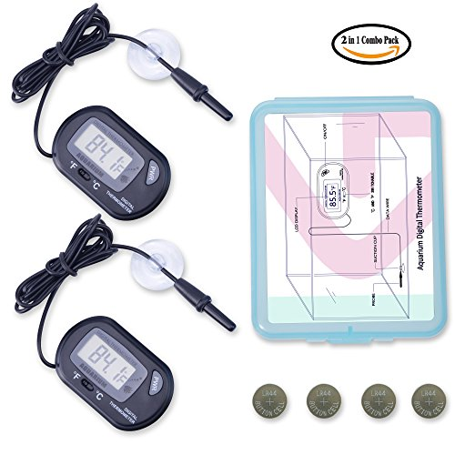 2-Pcs Aquarium Digital Thermometers include 4-Pcs Batteries for Fish Tank by ZLPLL