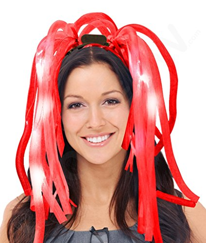 Fun Central LED Party Dreads - Light Up Headband and Wig for Kids and Adults - Red