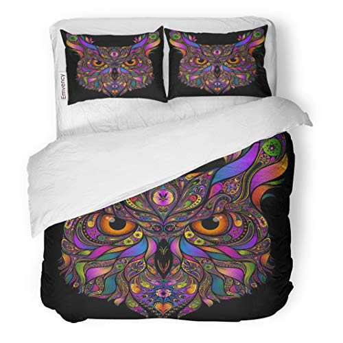 Semtomn Decor Duvet Cover Set King Size Adult Head of Owl Colored Abstract Patterns on Animal 3 Piece Brushed Microfiber Fabric Print Bedding Set Cover -