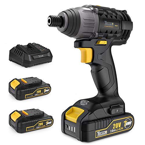 Impact Driver with 2pcs 2.0Ah Lithium Ion Batteries, 1/4'' Hex Chuck 20V Cordless Impact Driver, 30 Minutes Fast Charger, 1600In-lbs Max Torque, 2900RPM Max Speed-TECCPO TDID01P by TECCPO