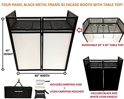 """DJ Event Facade White/Black Scrim Metal Frame Booth + 20"""" x 40"""" Flat Table Top Includes Both White and Black Panels + Carrying Cases! by CedarsLink"""