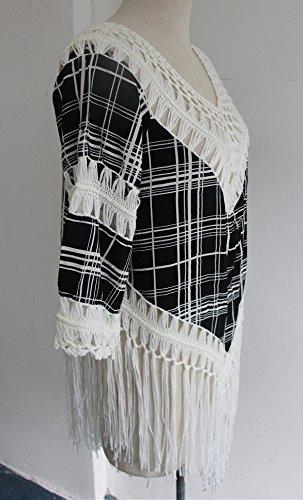 Bikini Cover Ups Damen Sommerkleid Blusen Atmungsaktiv Asymetrisch Größen Quaste Mit Spitze Spitzenbluse Oversize Uv Schutz Tops