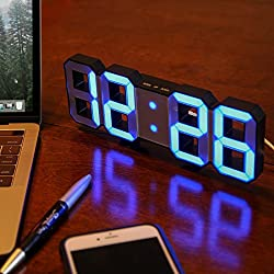 Lily's Home Minimalist LED Clock with 3 Adjustable Brightness Levels and AC/DC Power Adapter - Digital LED Desk Clock | Wall Clock | Alarm Clock - Blue