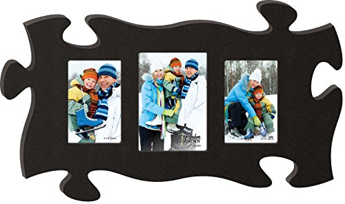 P. GRAHAM DUNN Black 13 x 22 Wall Hanging Wood Puzzle Piece Photo Frame ()