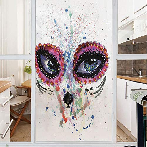 Decorative Window Film,No Glue Frosted Privacy Film,Stained Glass Door Film,Spooky Big Eyes Cat Face Girl Portrait Artistic Ceremonial Celebration,for Home & Office,23.6In. by 78.7In Multicolor