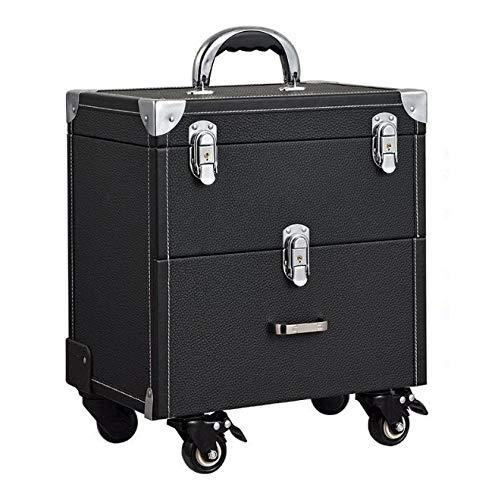 Chennong 化粧箱、大容量ダブルポール化粧品ケース、ポータブル旅行化粧品袋収納袋、美容化粧ネイルジュエリー収納ボックス (Color : ブラック)  ブラック B07R1RHYM2