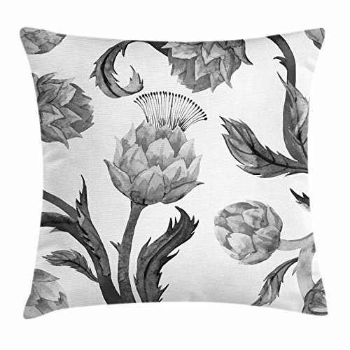 """Ambesonne Artichoke Throw Pillow Cushion Cover, Faded Colored Black and White Super Foods with Stalks and Leaves Art Print, Decorative Square Accent Pillow Case, 16"""" X 16"""", White Black"""