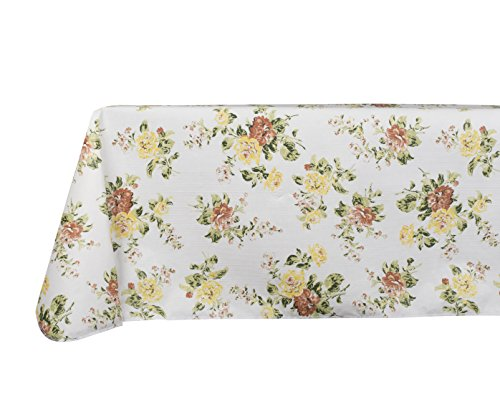 Yourtablecloth Printed Vinyl Tablecloth with Flannel Backing for the Home, Picnics, Events, Indoor and Outdoor Dining (Vintage Garden, 52x52 ()