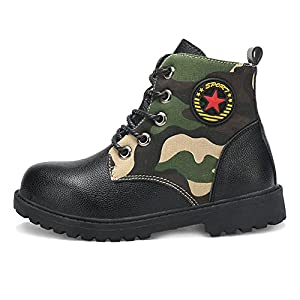 Hoxekle Boys Winter Warm Camo Combat Hiking Boots Kid Toddler Waterproof Non Slip Military Short Ankle Snow Boot
