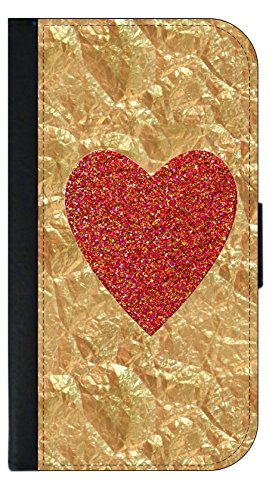 - Red Heart on Faux Crinkle Gold Print - Apple iPhone x / Apple iPhone 10 - Phone Case - Flip Wallet Style - Universal