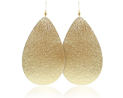 Gold Leather Ring - Gold Leather Teardrop Earrings, Handmade, Genuine Leather