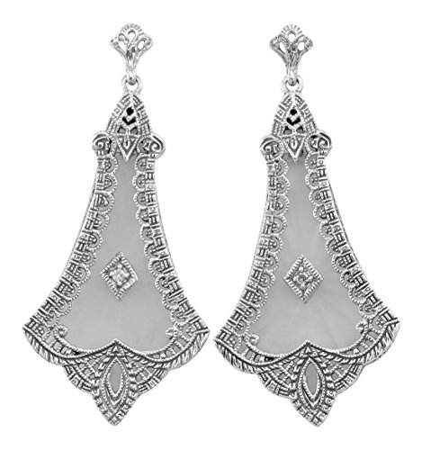 Art Deco Sunray Camphor Glass and Diamond Filigree Earrings in Sterling Silver