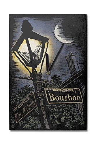 Lantern Press New Orleans, Louisiana - Bourbon Street Lamppost - Scratchboard (10x15 Wood Wall Clock, Decor Ready to ()