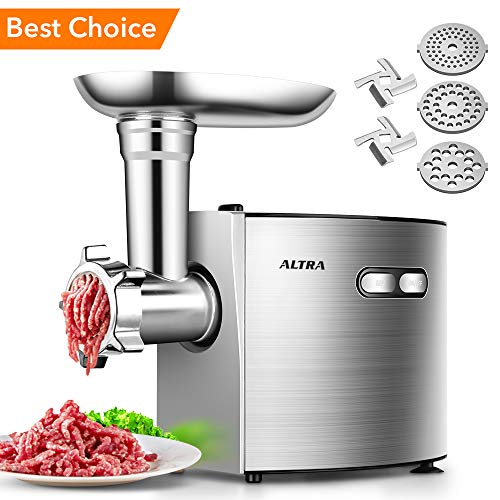 ALTRA Electric Meat Grinder, Stainless Steel Meat Mincer & Sausage Stuffer,【2000W Max】ETL Approved with 3 Grinding Plates, 2 Blades, Sausage & Kubbe Kit, Kitchenaid & Commercial Use, Silver by Altra (Image #7)