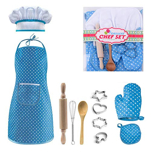 Kids Cooking and Baking Chef Set - Includes Apron Girls Boys, Chef Hat, Mitt & Utensil Custom for Kitchen Role Playing, 11pcs Cake Baking Sets Best Gifts for 3 Year Olds Kids and Up (Blue)