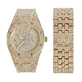 Men's Gold Hip Hop Inspired Iced Out Watch and Bracelet Set with Simulated Diamonds