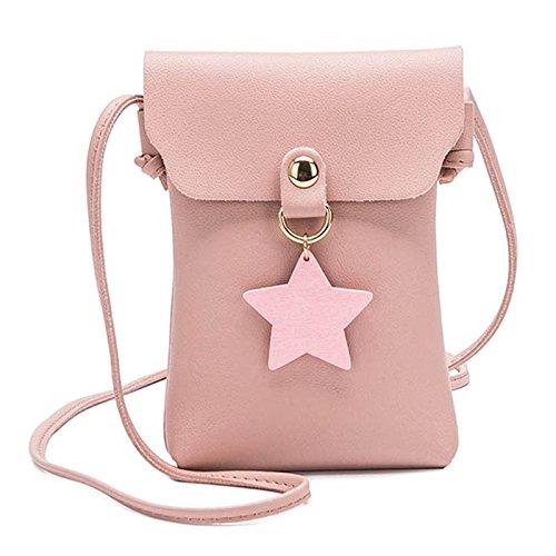 mujeres Las Majome Crossbody señora decoración dinero bolsa estrella Pink PU teléfono hebilla móvil para de hombro Bqn5Brxd