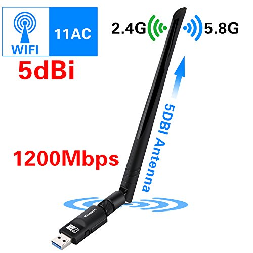 Elekele WiFi Adapter 1200Mbps Wireless USB Network Adapter 802.11ac Dual Band 2.4G/5.8G Wifi Dongle Adapter with WPS Function for Desktop/Laptop/PC, Windows XP/Vista/7/8/8.1/10,Mac OS X 10.6-10.12