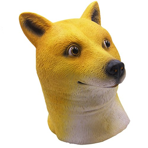 Latex Dog Costume (LUBBER Halloween Costume Shiba dog Latex Animal Head Mask yellow)