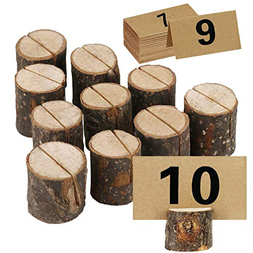 ECHI Wedding Table Card Holder, Real Wooden Base Photo Holder - Suit for Photo,Picture,Memo,Card,Business Card Clip (Style2-10PCS)
