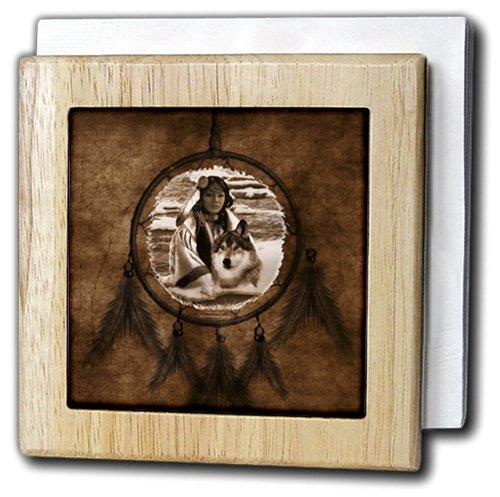 Doreen Erhardt Native American – ブラウンNative American Wolf Based on a Painting by Martin Basmajian – タイルナプキンホルダー 6 inch tile napkin holder nh_52256_1 6 inch tile napkin holder  B0087XZFD4