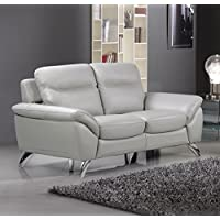 Cortesi Home CH-2MONACO3586F Contemporary Monaco Leather, Loveseat, Light Grey