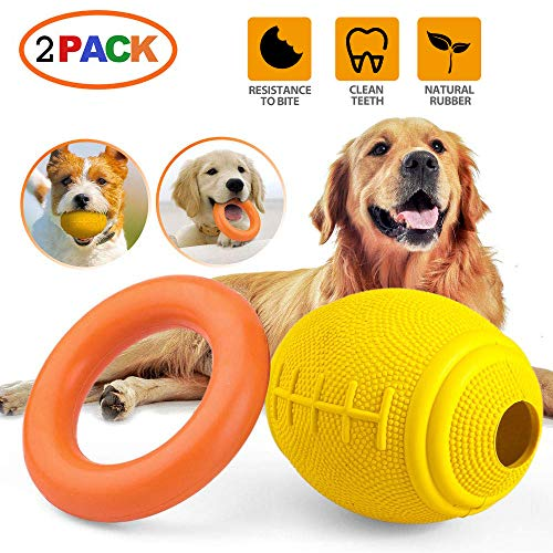 PrimePets 2PCS Dog Treat Ball and Non-Toxic & Durable Rubber Dog Ring Toy,Tug of War Dog Toy, Fun for Throw, Chase and Fetch Games, Exercise and Dog IQ Training Toy for Puppies Dogs