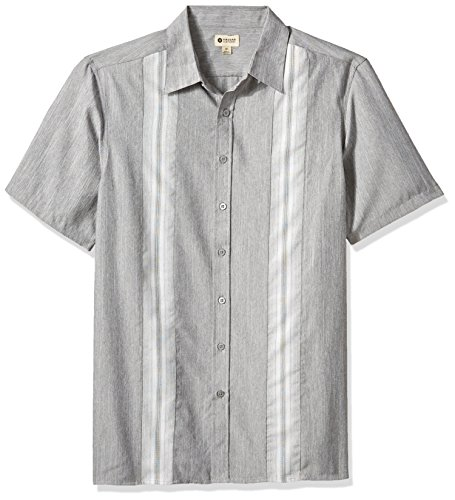 Haggar Men's Big and Tall Big&Tall Short Sleeve Microfiber Woven Shirt, Black/foil, Large ()