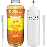 General Hydroponics PH Down Quart (32oz) Water Tester Solution Includes Hydro Empire Squeeze Bottle and 2 Pipettes. Calibration to Lower pH Balance Acid Nutrients and Fertilizer Liquid Garden Use GH