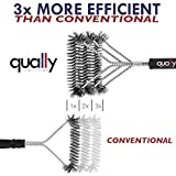 """Qually United - Best 18"""" BBQ Grill Brush with 3 Stainless Steel Brushes in 1 - Universal and Perfectly Angled, this BBQ Brush is a Must Have Tool for All Barbecue Lovers"""