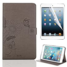 Folio Case Cover for iPad Mini 1 2 3, Bonice Premium Embossed Butterfly Pattern Leather Stand Folio Wallet Case Magnetic Snap with Card Slots Shockproof Protective Cover - Grey