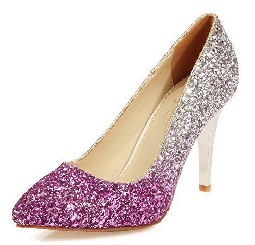 AllhqFashion Damen Ziehen Auf Pu Leder Spitz Zehe Stiletto Gemischte Farbe Pumps Schuhe Lila