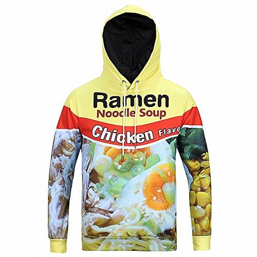 ZUEVI Men's Unisex Novelty 3D Printed Pullover Hoodies(Chicken-XL) (Twin Cotton Set Cashmere)