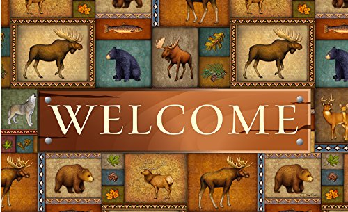 Toland Home Garden Quilted Wilderness Welcome 18 x 30 Inch Decorative Wildlife Floor Mat Bear Deer Doormat (Welcome Deer)