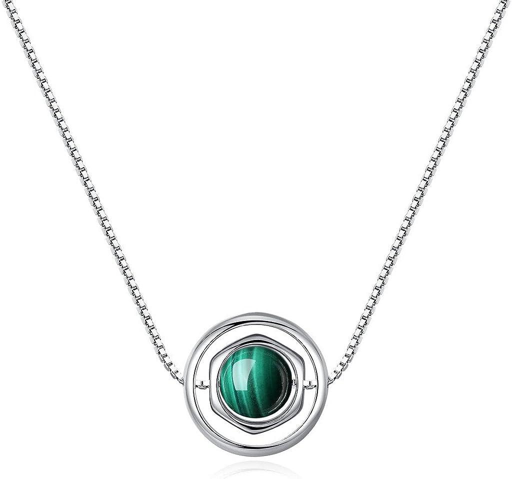COAI® Collar con Colgante de Piedra Genuina Cuentas Malaquita con Cadena de Cobre Platada Platino 40cm