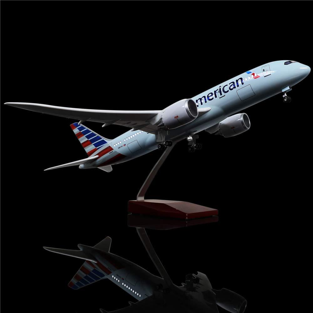【ご予約品】 LESES 1:130スケール LEDライトモデル 飛行機 LESES アメリカン ボーイング B07KTNZ4LC 787 18インチ 樹脂ディスプレイ飛行機モデル 787 B07KTNZ4LC, ヤマエムラ:0ce9a192 --- wap.milksoft.com.br