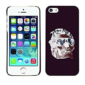 Shell-Star Arte & diseño plástico duro Fundas Cover Cubre Hard Case Cover para Apple iPhone 5 / iPhone 5S ( Cool Shades Flames Purple Skull Death )