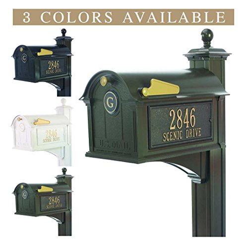 Standard Whitehall Mailbox Post - Personalized Whitehall Balmoral Mailbox with Side Address Plaques, Monogram & Post Package (3 colors available)