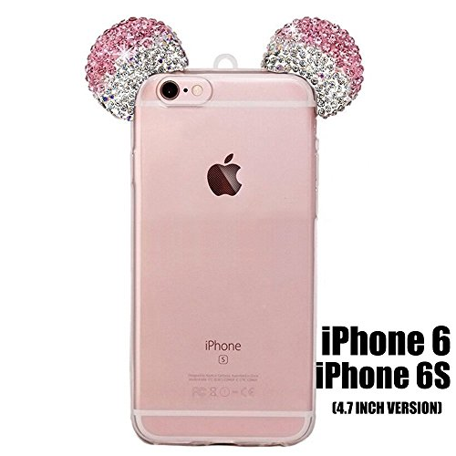 iPhone 5/5S/SE/6/6S/6+/6S PLUS Case, 3D Mickey & Minnie Mouse Crystal Diamond Bling Rhinestone Ears Clear TPU Rubber Silicone Cover with Lanyard & Stylus Pen (iPhone 6/6S)
