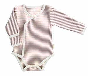 Tadpoles Organic Cotton Pin-Stripe Kimono-Style Bodysuit, Cocoa 3-6 Months from Tadpoles
