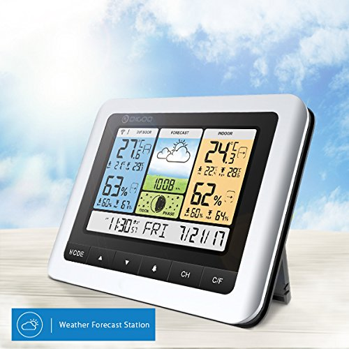 DIGOO TH8888 In&Outdoor Thermometer Color Weather Station with 3 Channels remote outdoor sensors, Home Thermometer USB Outdoor Forecast Sensor with Alarm Clock