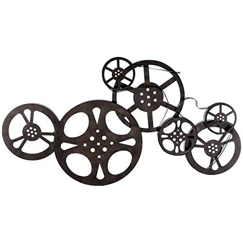 Antique Bronze Metal Movie Reel Wall Art ()