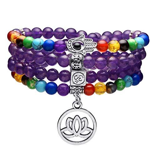 Top Plaza 108 Mala Prayer Beads 7 Chakra Healing Crystals Yoga Meditation Stretch Bracelets Natural Amethyst Gemstone Beads Wrap Bracelet Necklace