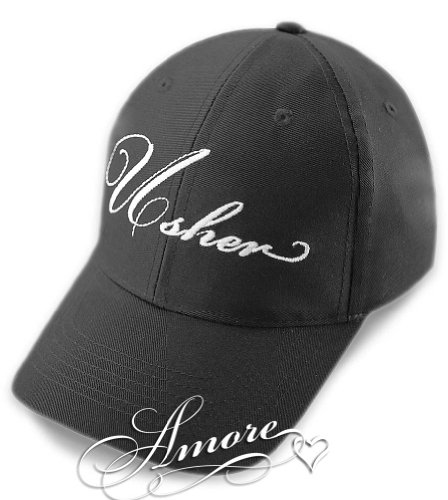 USHER Wedding Baseball Cap Black Hat with White Embroidery (Ushers In A Wedding)