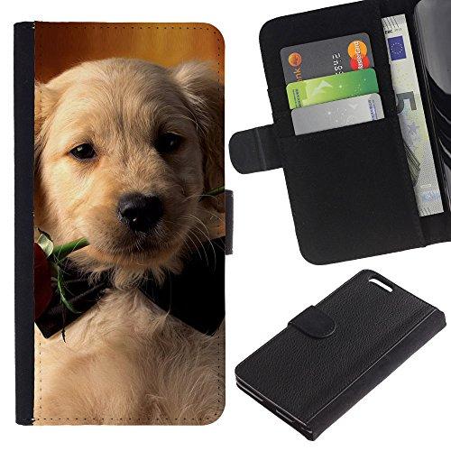 EuroCase - Apple Iphone 6 PLUS 5.5 - labrador retriever rose bowtie puppy dog - Cuero PU Delgado caso cubierta Shell Armor Funda Case Cover