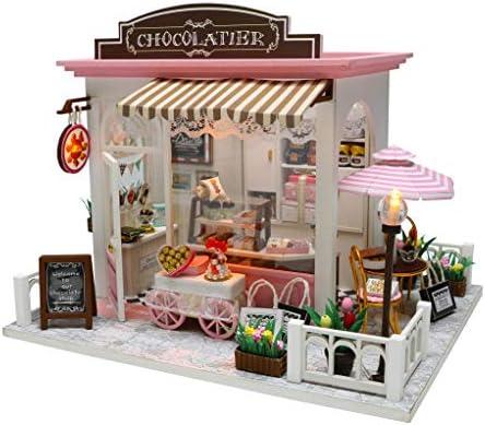 Cool Beans Boutique 1:24 Miniature DIY Dollhouse Kit Wooden European Chocolatier and Confectionery ShopMusical Mechanism and Dust Cover - Architecture Model kit (Chocolatier Without Batteries) / Cool Beans Boutique 1:24 Miniature D...