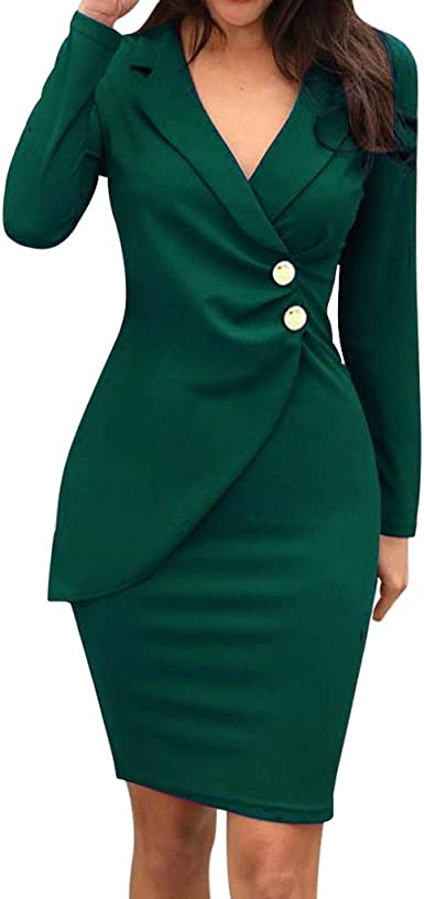 Women Solid Blazer Wrap Dresses Ladies Wear To Work Dresses V Neck Ruched Button Design Formal Office Dress At Amazon Women S Clothing Store