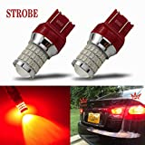 Scion tC 3rd Brake Lights - iBrightstar Newest 9-30V Flashing Strobe Blinking Brake Lights 7440 7443 T20 LED Bulbs with Projector replacement for Tail Brake Stop Lights, Brilliant Red