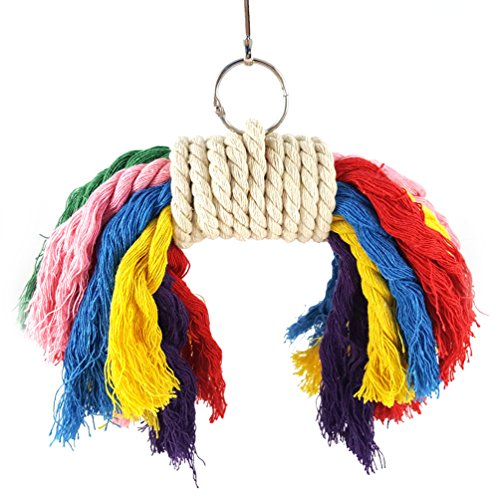 RYPET Parrot Colorful Rope Toy - Perfect Bird Cage Toy for Playing and Preening Fits Small to Medium Birds